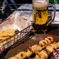 Souvlaki and a beer
